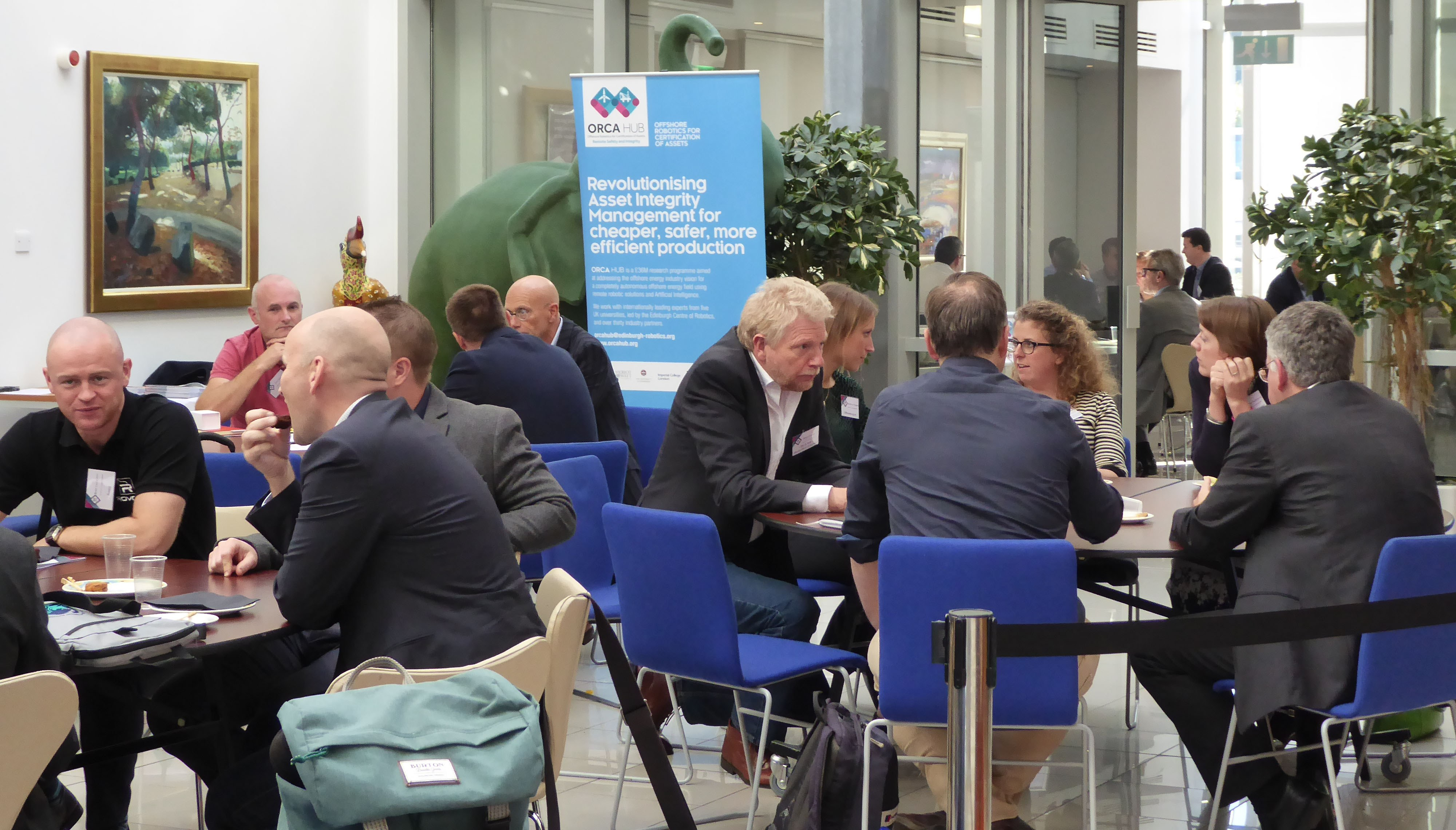 Discussions over lunch at the ORCA Hub Open Day.